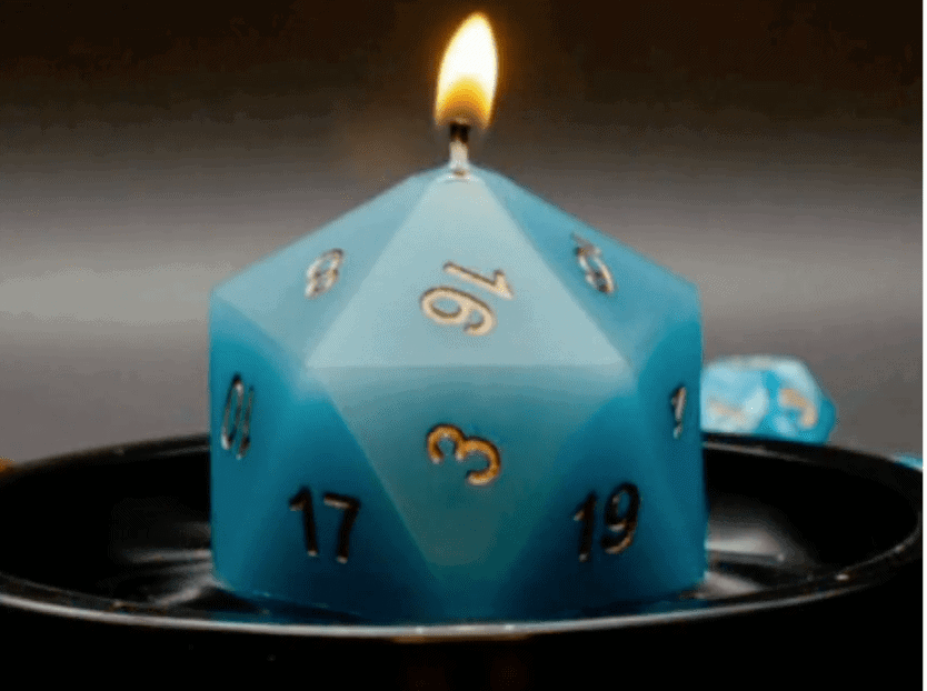 Surprise Candle with a Hidden D&D Dice Candle